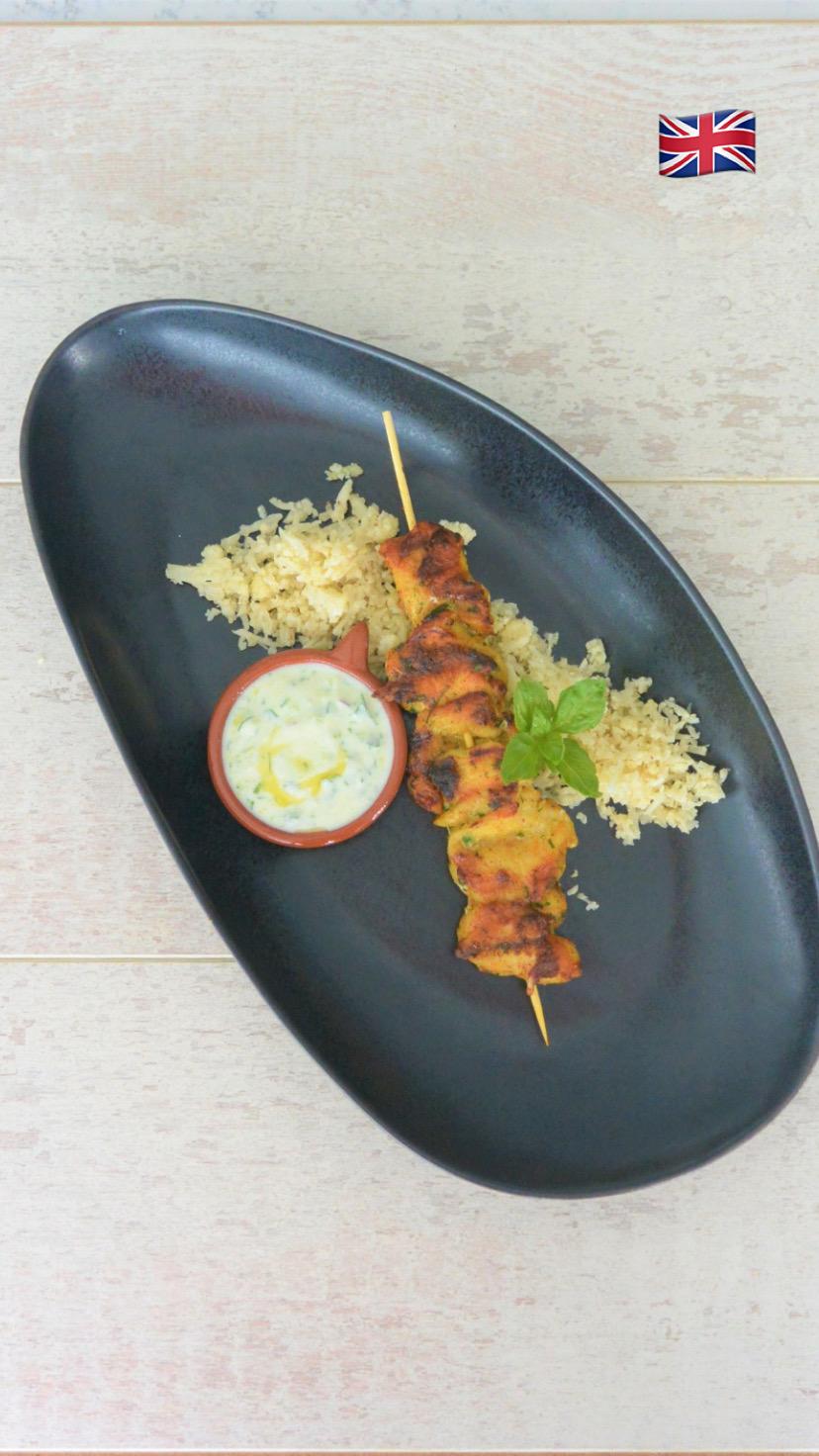 SPICED CHICKEN SKEWERS With cauliflower rice and yoghurt sauce