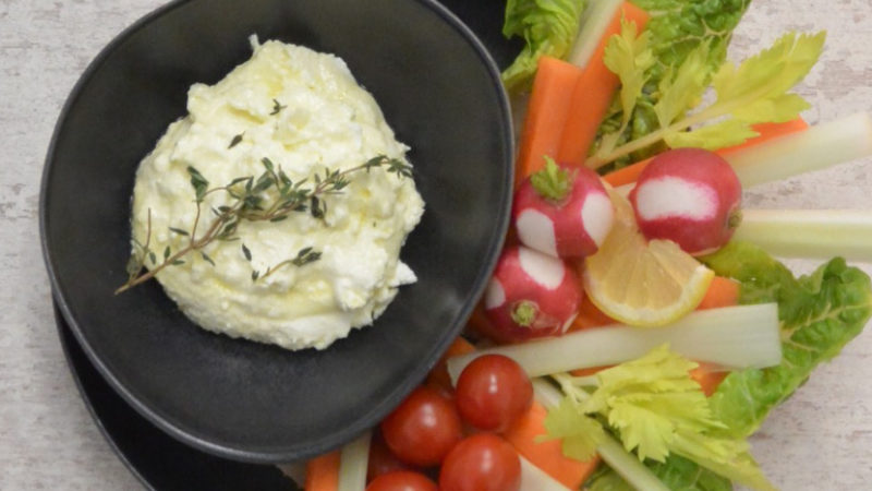 ORGANIC FETA CHEESE DIP With raw veggies