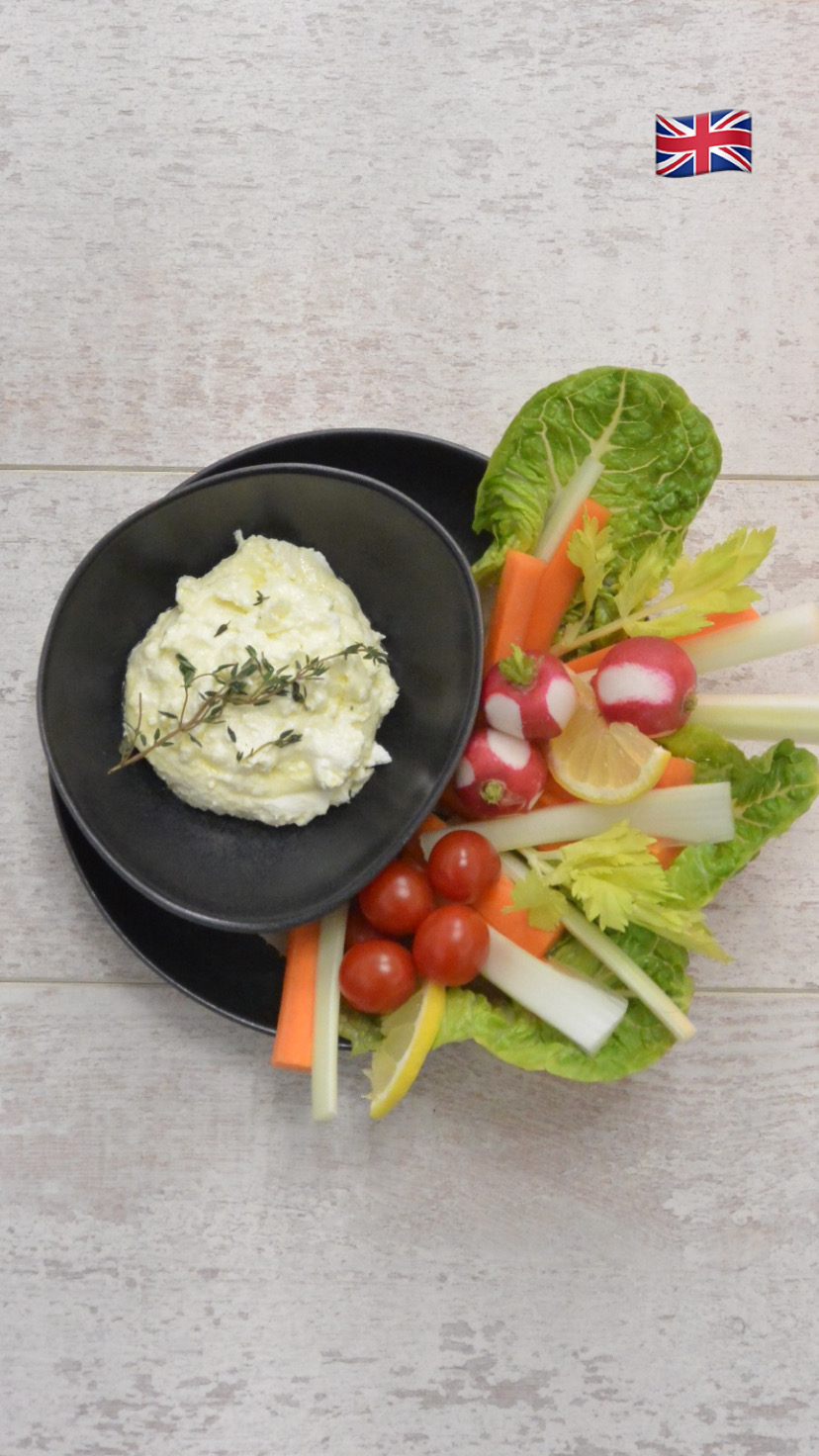ORGANIC FETA CHEESE DIP With raw veggies